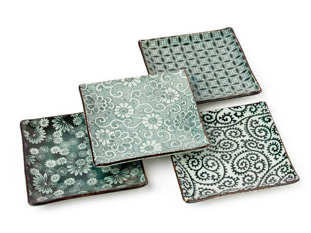 Antique Green Square Plate Set ( Out of Stock )