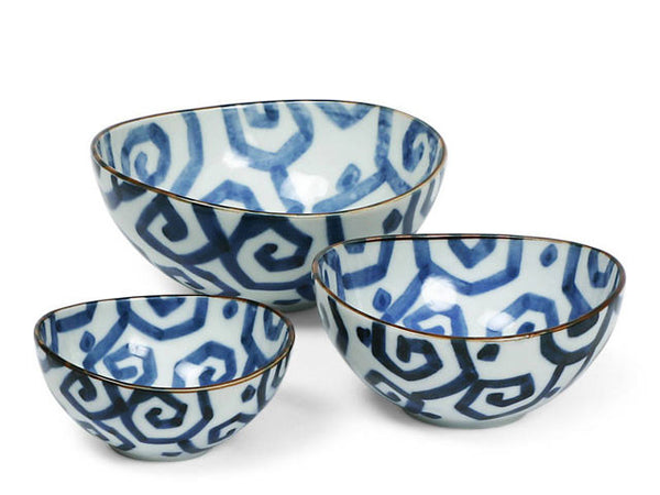 Uzu-Karakusa Design Ceramic Oval Nested Bowl Set