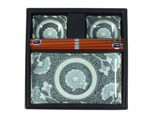 "The design, inspired by antique textile patterns, is understated and elegant, with a touch of culture and history. This Antique Ginkgo Sushi Set includes 2 rectangular plates, 2 sauce dishes, and 2 pairs of chopsticks packaged in a black gift box.   Plates: 8.75"" x 5"" x 0.8""h. Sauce dishes: 3.75"" diameter x 1.5""h. Chopsticks: 9"" long. Microwave, dishwasher safe (except for chopsticks). Made in Japan. Ceramic and wooden chopsticks."