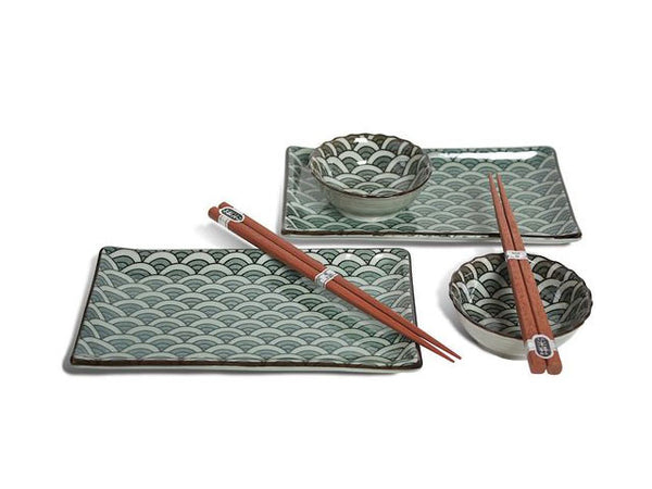 Antique Wave Sushi Set for Two