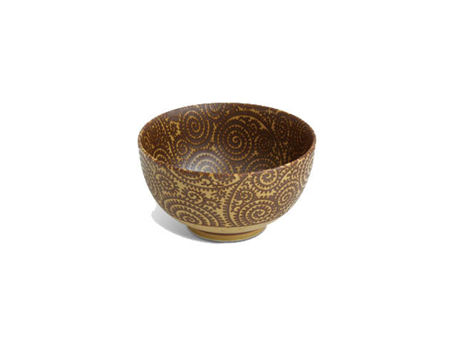 Antique Sepia Karakusa Design Bowl