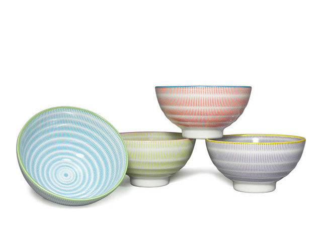 Sendan Pattern Colors Rice Bowl Set - 4.5 in.