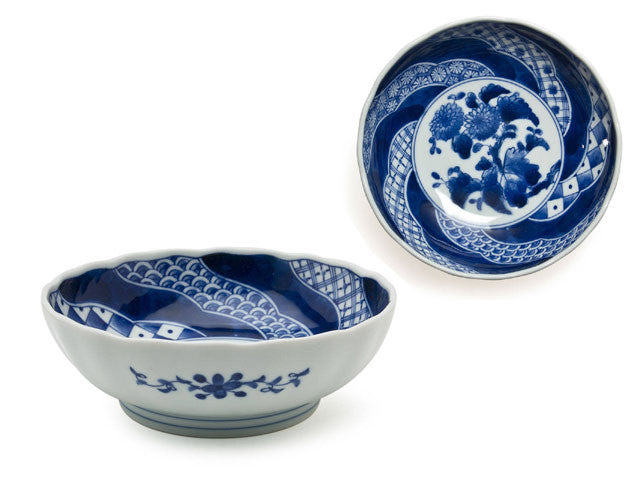 "6.5"" Blue on White Design Bowl"
