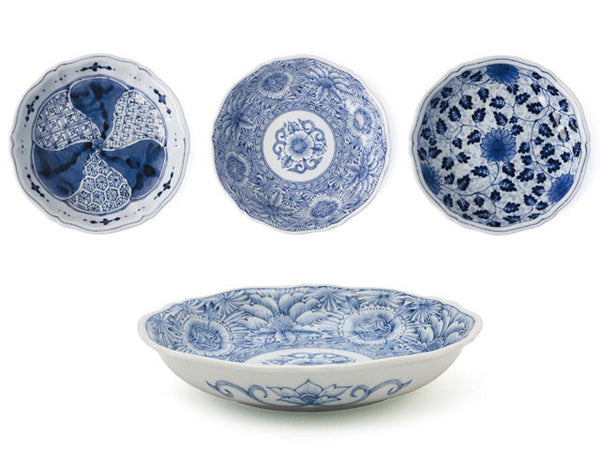 Four elegant blue white shallow bowls with vintage quality