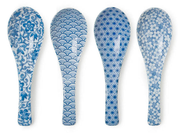 Blue on White Ceramic Soup Spoon Set