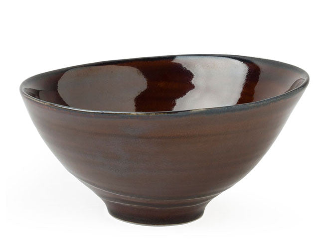 Kasuga Kohaku Brown Ripples Design Bowl