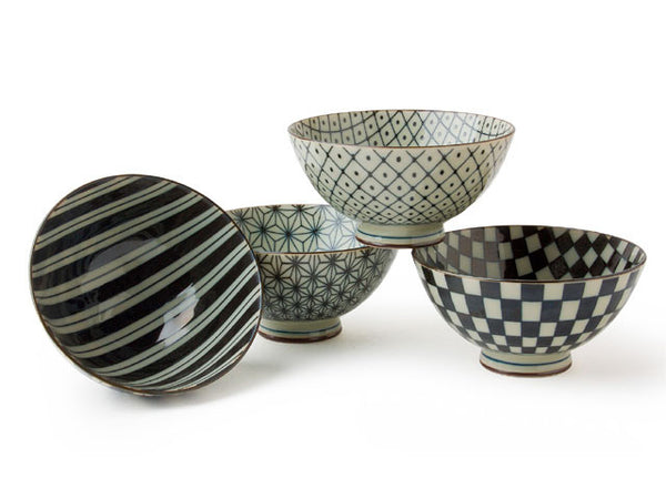 Geo-Pattern Egawari Rice Bowl Set