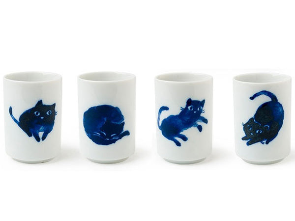 Midnight Blue Cat Teacup Set