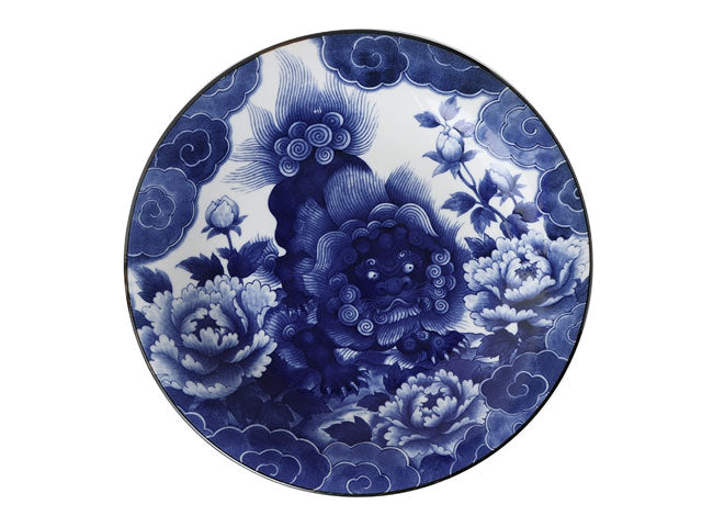 "Blue on White Komainu Foo Lion Design Plate (11"")"