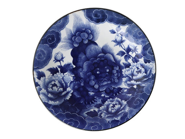 "Blue on White Komainu Foo Lion Design Plate (11"") ( Available 5/28/21 )"