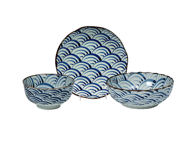 Seikai Nami Blue Ocean Waves Series Ceramic