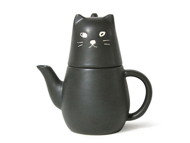 Black Cat Design (Tea For One) Ceramic Tea Set