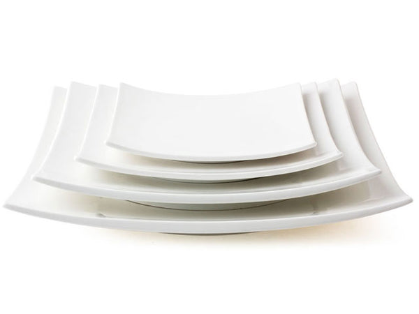 Omakase White Ceramic Serving Plate - Curved Square