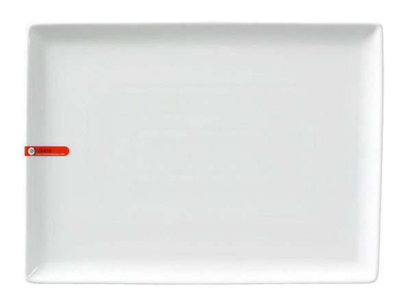 Omakase White Ceramic Serving Plate - Rectangular