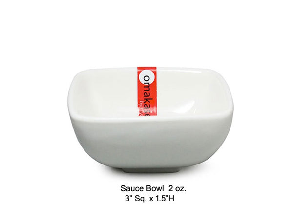Omakase White Ceramic Sauce Bowl - Square