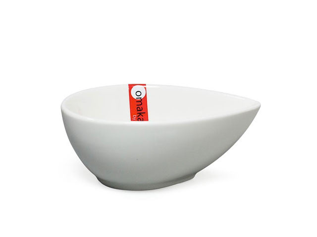 Omakase White Ceramic Sauce Bowl - Teardrop