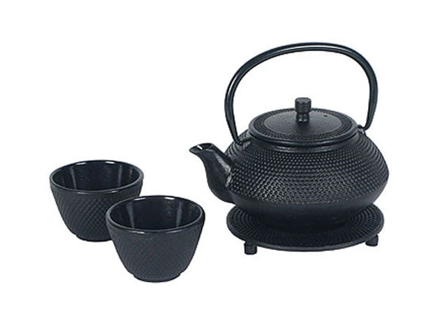 Black Hobnail Design Cast Iron Tea Set