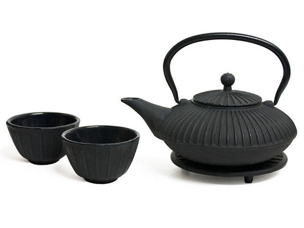 Stripes Design Cast Iron Tea Set - Black