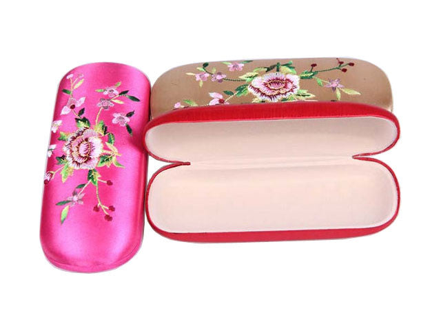 Floral Embroidery Eyeglass Case