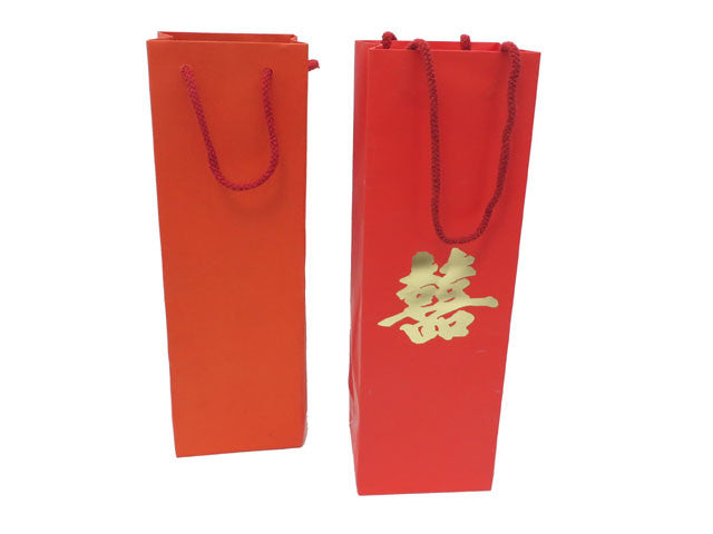 Red Paper Wine Bottle Gift Bag