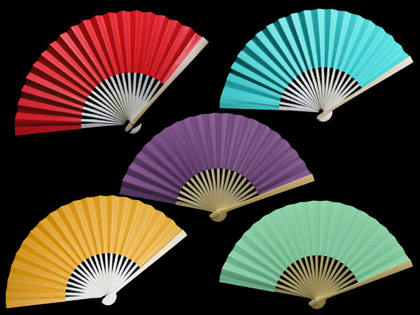 Pretty paper folding fans in variety of colors