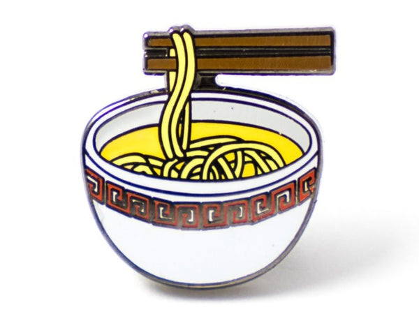 Pin of bowl of noodles with chopsticks