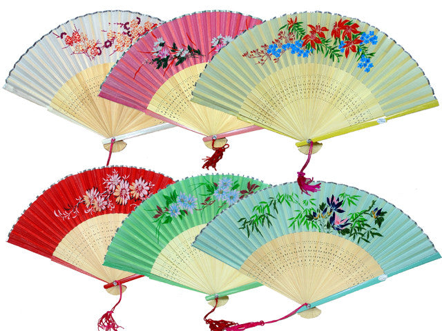 Colored Bamboo Framed Silky Fan - 9 in.