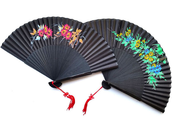 Bamboo Framed Silky Fan - Black