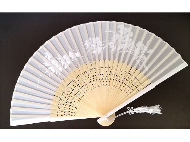 Bamboo Framed Silky Fan - White