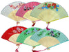 Six silky fans in a variety of colors and floral designs