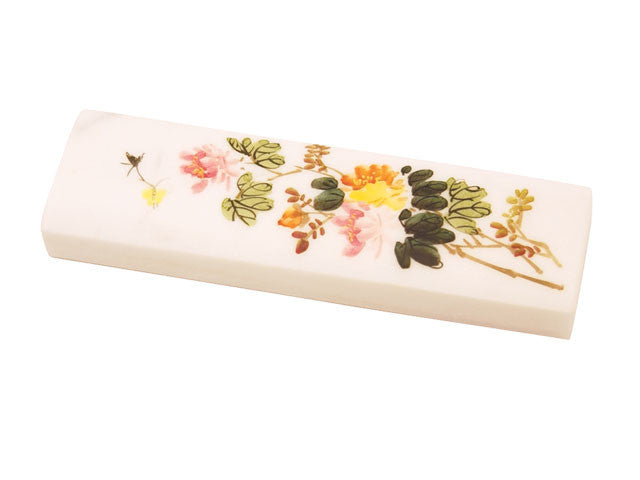 Floral Print White Marble Paper Weight