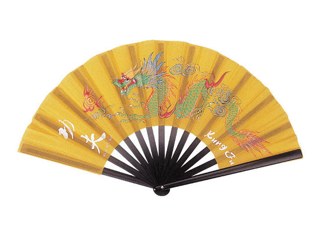 Kung-Fu Dragon Fabric Fan / Black Plastic Frame