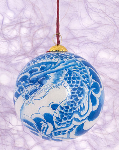 Blue Dragon Glass Ornaments
