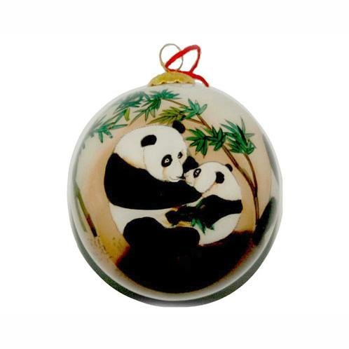 Hand-Painted Glass Ornament, Pandas at Play