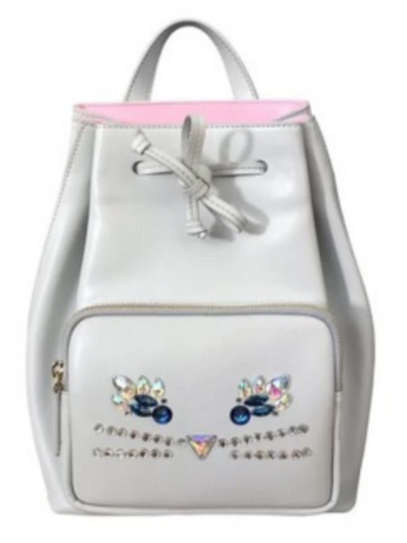 white backpack with jewel design in shape of cat