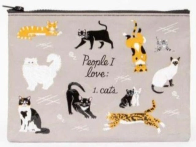 Nylon Zipper Pouch: People I Love: Cats