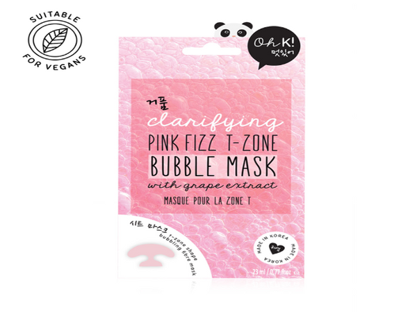 Oh K! Pink Fizz T-Zone Bubble Mask for exfoliation and brightening