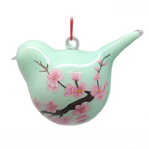 Hand-Painted Glass Ornament, Bird Shape, Pink And Pale Green Cherry Blossoms