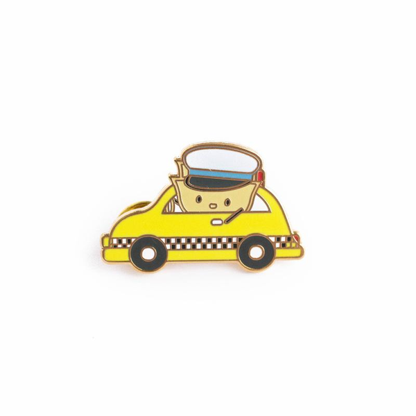 Wonton Drives A Taxi enamel pin