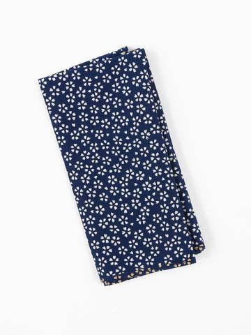 Navy Blossoms Pocket Square