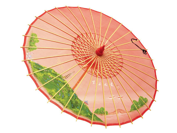 Hand Painted Silk Organza Parasol - Red