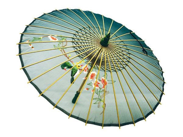 Hand Painted Silk Organza Parasol - Dark Green