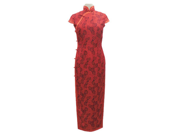 Cap Sleeve Ankle Length Mandarin Dress (Red with Red Trim)