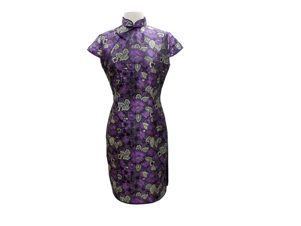Cap Sleeve Knee Length Mandarin Dress - Floral Pattern