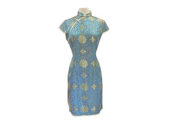 Cap Sleeve Knee Length Mandarin Dress - Lotus Pattern