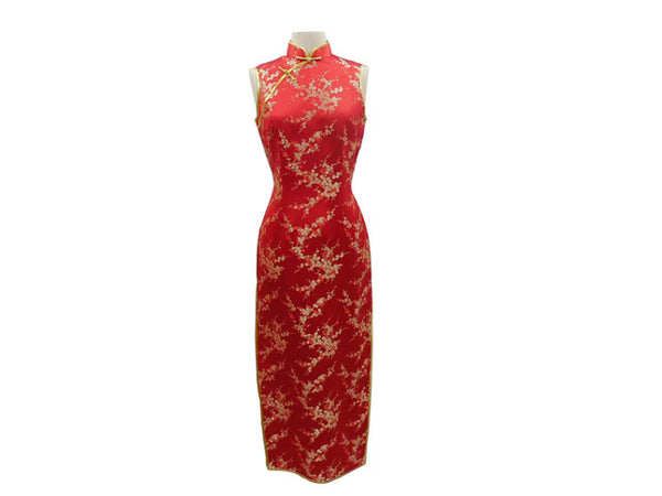 Gorgeous red Sleeveless Ankle Length Mandarin Dress with gold Plum Blossom design
