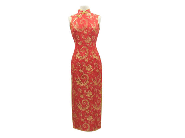 Sleeveless Ankle Length Mandarin Dress - Floral Pattern