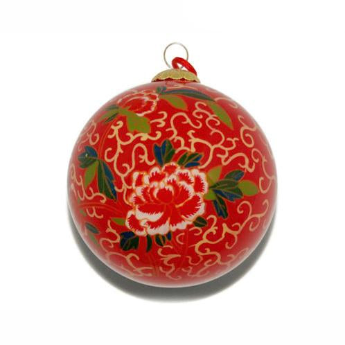 Hand-Painted Glass Ornament, Red Peony