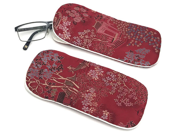 Brocade Eyeglass Pouch (Burgundy)