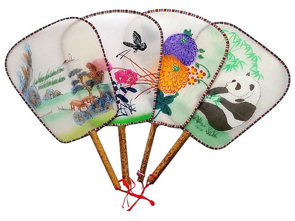 Hand Painted Silk Paddle Fan - Bamboo Handle